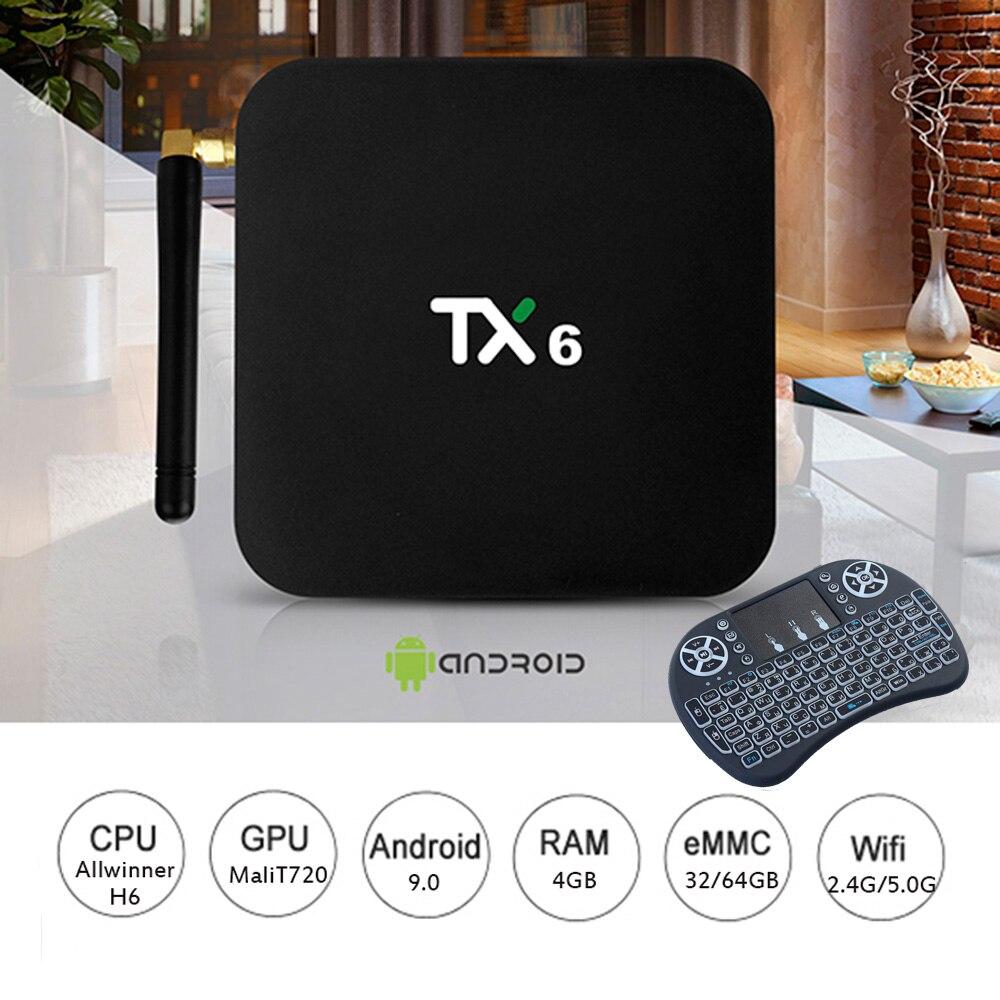 TX6 boîte d'iptv Allwinner H6 4 K HDR Android TV 9.0 Ultra HD 4G 64G Double Wifi 2.4G /5G WIFI BT5.0 Set top Box lecteur multimédia