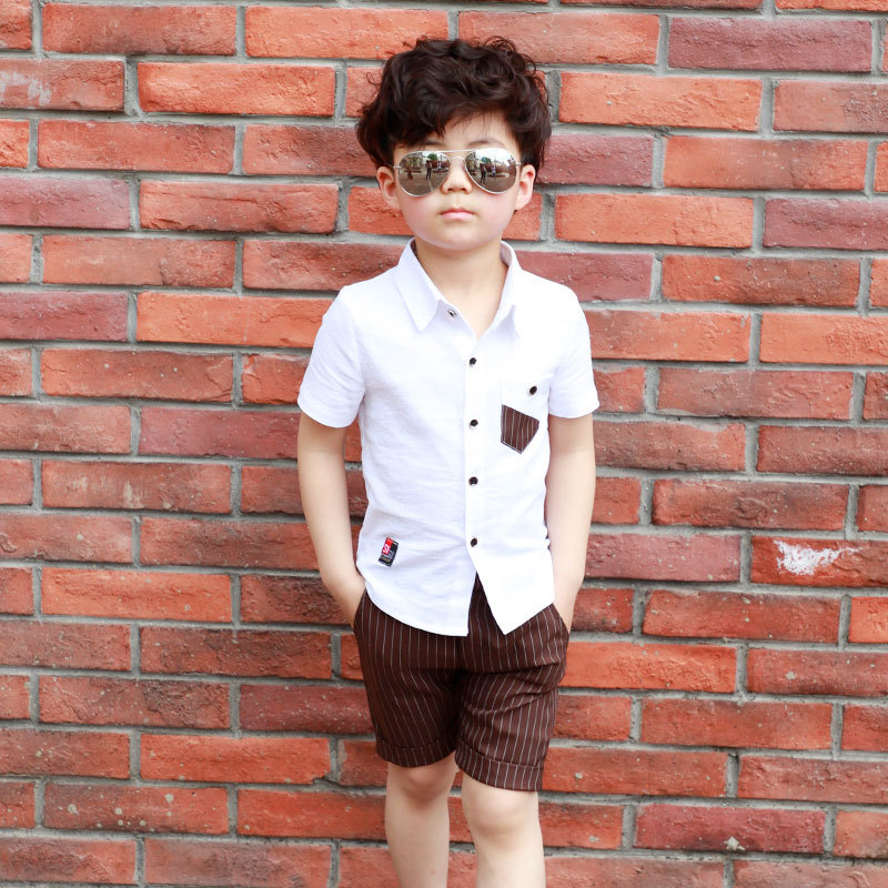 63c12f4bbccb HTB1tuKbkkKWBuNjy1zjq6AOypXaQ - School Boy Summer Clothing Set 2018 Boys  Clothes Kids Short Sleeves Shirt+ Stripe Shorts