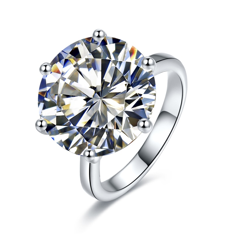 New Arrival 10ct Simulated Diamond Solitaire Engagement Wedding Ring women silver color ring