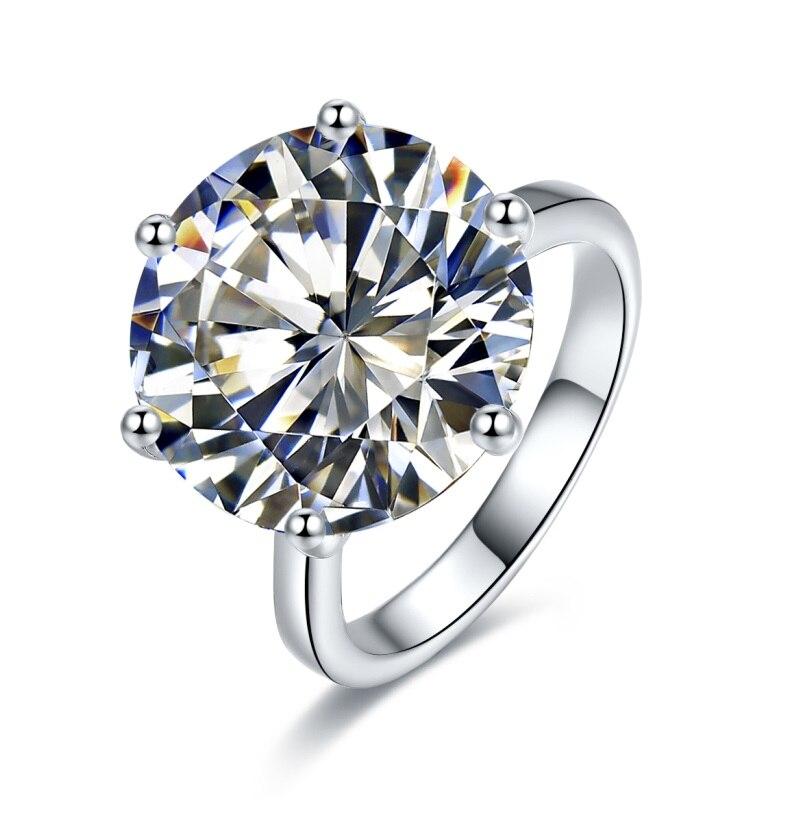 Takı ve Aksesuarları'ten Halkalar'de Yeni Varış 10ct Simüle elmas tek taş Nişan Alyans, gümüş renk yüzük'da  Grup 1