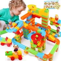 DIY Assembly Construction Marble Race Run Maze Gaming Balls Track Building Blocks Children Baby Kid S