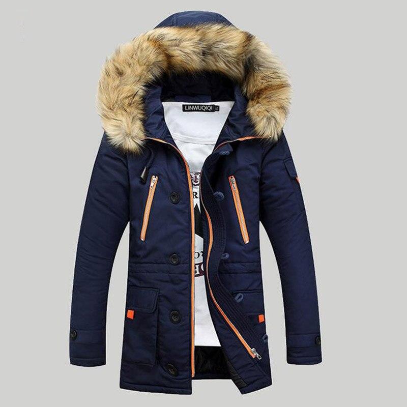 Плотные однотонные парки Для мужчин 2018 Для мужчин s зимние куртки и пальто меховой воротник Повседневное длинный хлопок с капюшоном Для муж...