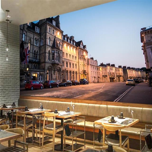 Beibehang Kustom 3D Wallpaper Eropa Retro City Street Bar Ktv Perkakas Latar Belakang Dinding Mural