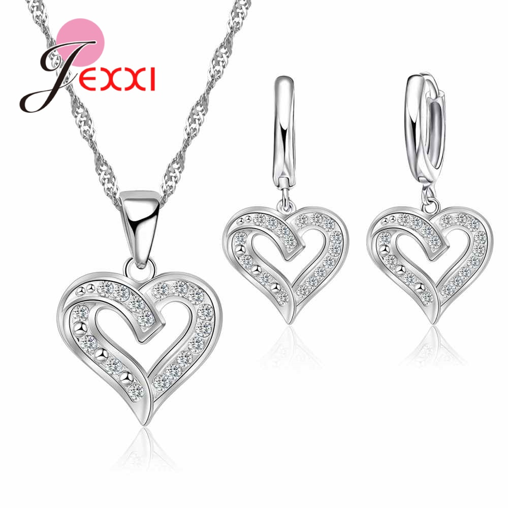 Trendy <font><b>925</b></font> Sterling <font><b>Silver</b></font> <font><b>Jewelry</b></font> <font><b>Set</b></font> Sparkling Love Heart <font><b>Jewelry</b></font> <font><b>Sets</b></font> Valentine's Day Gift Young Girls Bridal <font><b>Jewelry</b></font> image