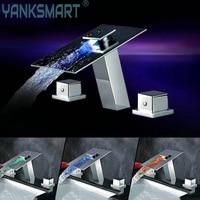 LED Thác Vòi Đúp Xử Lý 3 CÁI Bộ Sàn Mounted Mixer Nước Điện Tap LED Lưu Vực Mixer Chrome Bồn Tắm Vòi