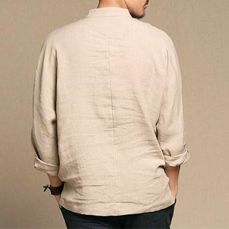 8dc0b016e ... 2018 Spring Summer Chinese Shirt Men Vintage Style Men s Shirt V-neck  Long Sleeve Thin ...