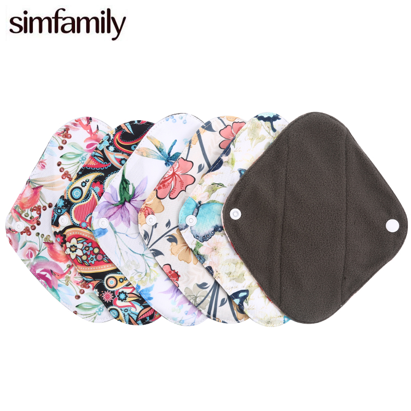 [simfamily]4Pc Oganic Bamboo Charcoal Panty Liner Healthy Material Inner Super Absorption Reusable Feminine Higiene Sanitary Pad