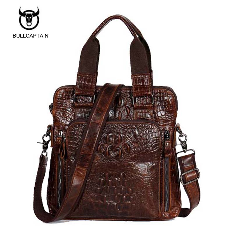 Bullcaptain Genuine Leather Men Bags Fashion Crocodile Pattern Man Crossbody Shoulder Bag Men's Small Briefcase Men Clutch Bags freeshipping 2016 genuine leather man small bag vintage clutch bag crocodile pattern leather men messenger bags 7267c