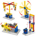 Mechanical Engineer Building Blocks Teaching Aid Toys 3 in 1 Windmill Merry Go Round Lift Toys Wange compatible with lego