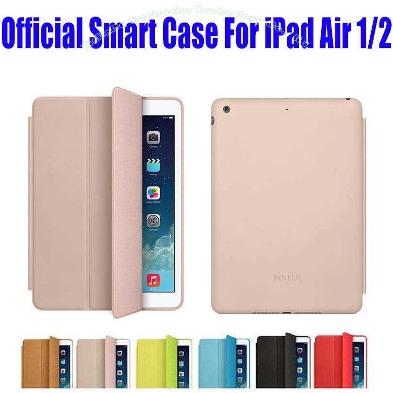 20pcs/Lot EMS Free Smart Case For Apple iPad Air 1 2 official Case Fashion Ultra thin Flip Cover Case For iPad 6 NO: I607