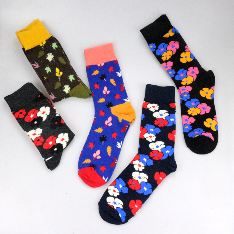 2018 Premium Fancy Happy   Socks   Colorful Flower Leaves Personality Funny Women Men Unisex Plant   Socks   Cotton Cozy   Socks   Female