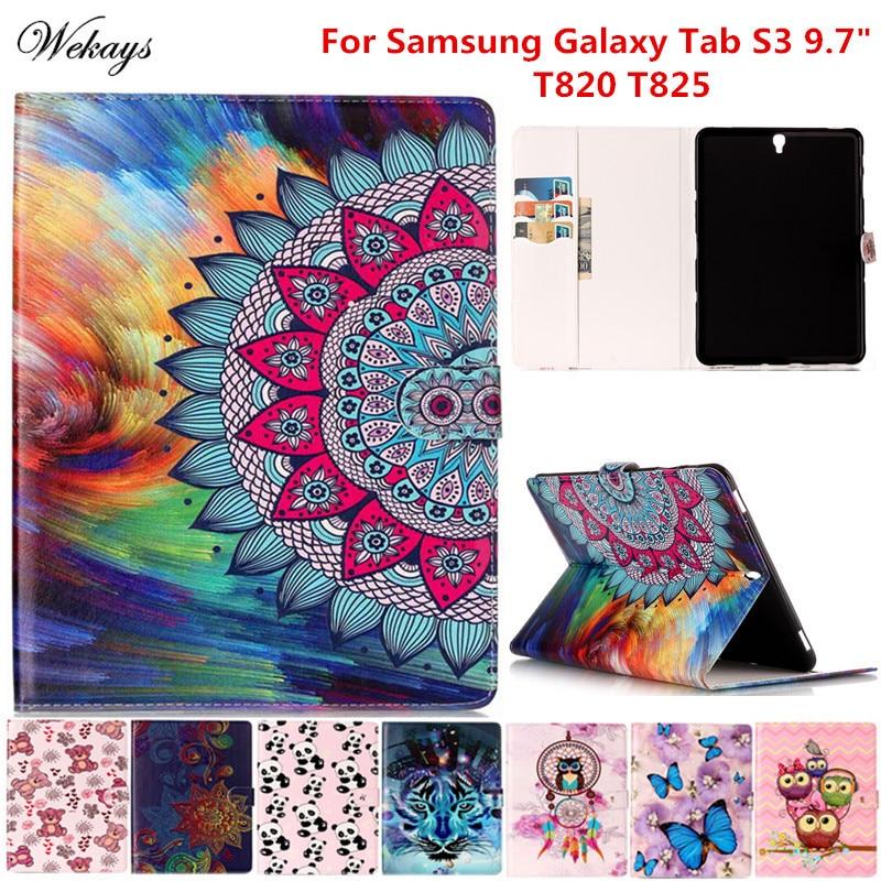 Wekays For Galaxy Tab S3 9.7 Cartoon Leather Funda Case For Samsung Galaxy Tab S3 9.7 T820 T825 T825c T829 Tablet Cover Case Kid new luxury pu leather case for samsung galaxy tab s3 9 7 t820 t825 flip stand cover tablet case for samsung galaxy tab s3 t820