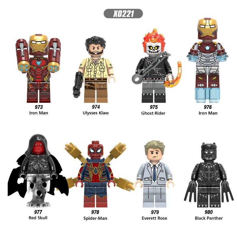 Legoings Iron Man 28 FX Avengers Wolverine Marvel Ghost Rider Red Skull Spiderman Figure Building Blocks Toys For Children Gifts