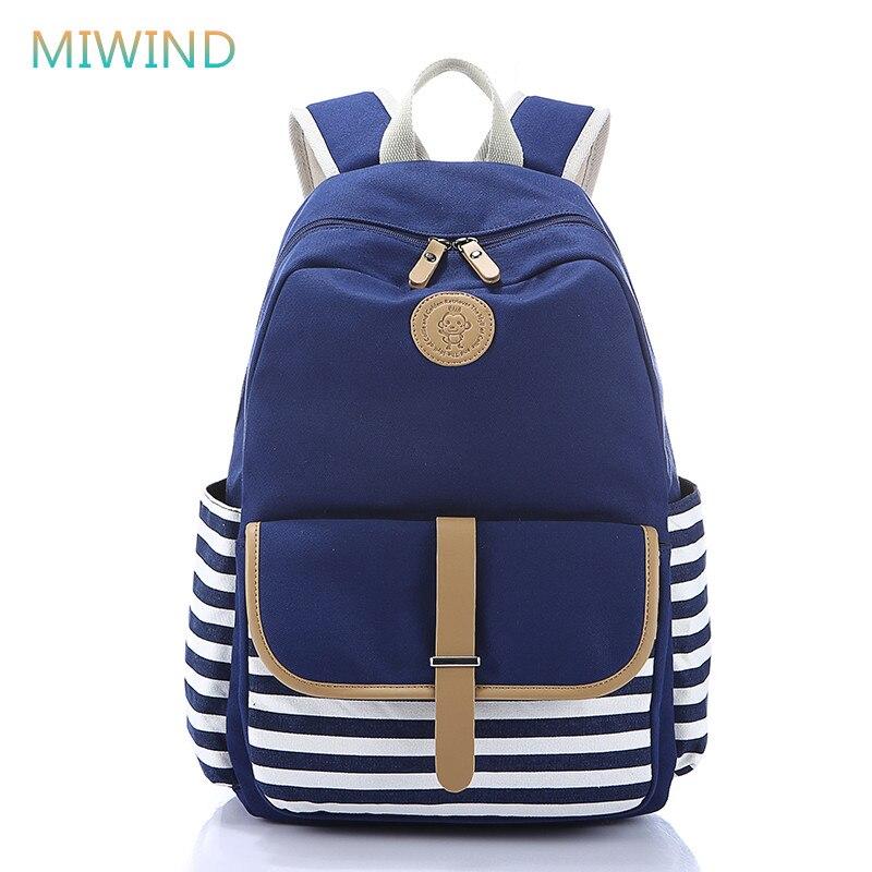 MIWIND Fashion 2016 New Multifunction Women Backpacks Mochilas Feminina Stripes Canvas School Backpacks for Girls Rucksack CB225