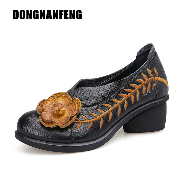 0911852322c DONGNANFENG Mother Old Women Shoes Flats Boots Med Heel Cow Genuine Leather  Pigskin Rubber Slip On Floral Flower Size 35-40 SJ-2
