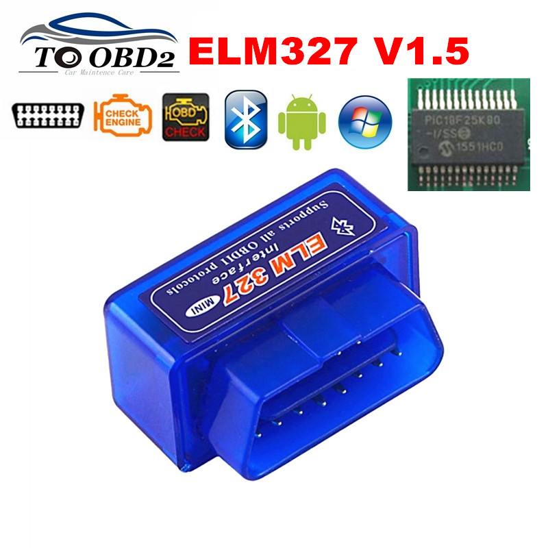 Best Quality Hardware V1.5 PIC18F25K80 Chip ELM327 Bluetooth 1.5 Works Android Windows Diagnosis Scan Tool ELM 327 FREE SHIPPING-in Car Diagnostic Cables & Connectors from Automobiles & Motorcycles