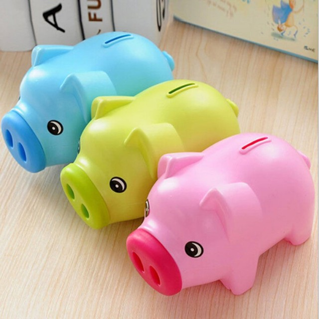 new cartoon pig piggy bank coin money plastic still savings toy cash