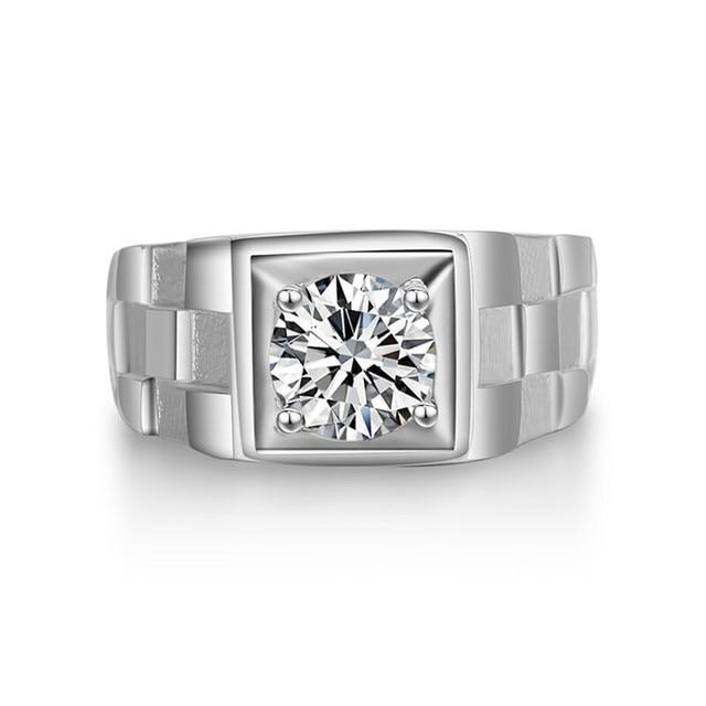 Anello Degli Uomini di Lusso Fine Jewelry 100% 925 sterling-silver-gioielli Sposo Wedding Anelli Di Fidanzamento Cubic Zirconia Accessori