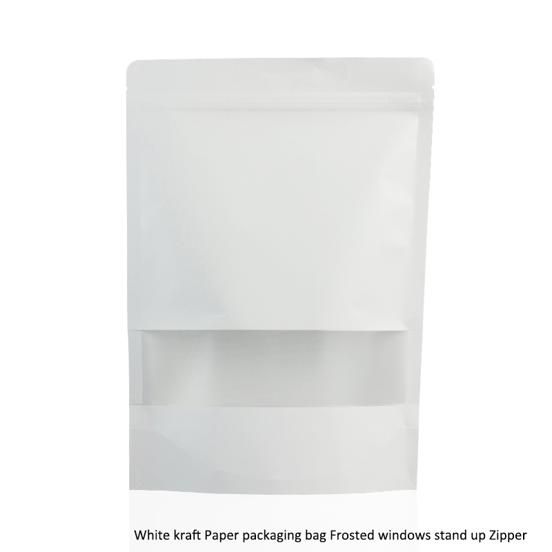 50pcs/lot big 3 sizes White kraft Paper packaging bag Frosted windows stand up Zipper packing bags zip lock retailer package