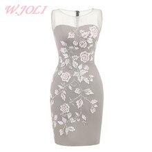 W.JOLI O-NECK Вечернее платье Короткие элегантные атласные аппликации Цветы Невесты Банкетный выпускной вечер Свадебные платья