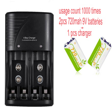 2pcs 6F22 9V 720mAh Lion Rechargeable Battery+1pcs AA AAA 9V Battery Charger for Thermometer Measurement Tool Dog Receiver