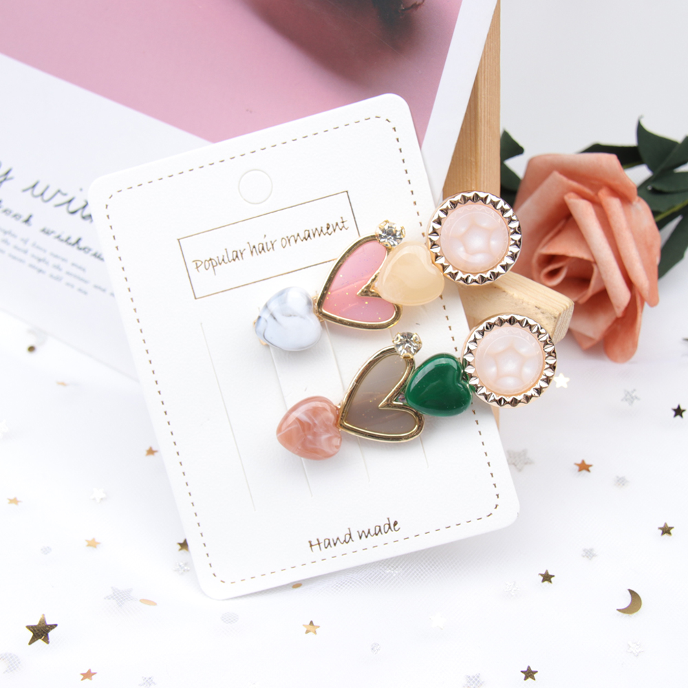 AHB Hair Accessories 1Pc Pearl Heart Clips for Women Colorful Hairgrip Korean Hairpin Fashion Girls