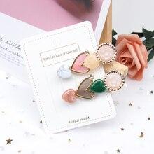 AHB Hair Accessories 1Pc Pearl Heart Clips for Women Colorful Hairgrip Korean Hairpin Fashion Girls