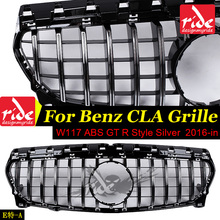 For MercedesMB CLA-W117 GT R Style Grille ABS Silver CLA180 CLA200 CLA250 CLA45 Sports Without sign Front Bumper 2016-in