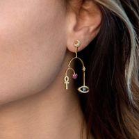Monaco Brand New Eye Heart Moon Charms asymmetric AB Earring Famous 925 sterling silver tassel Zircon women earrings jewelry