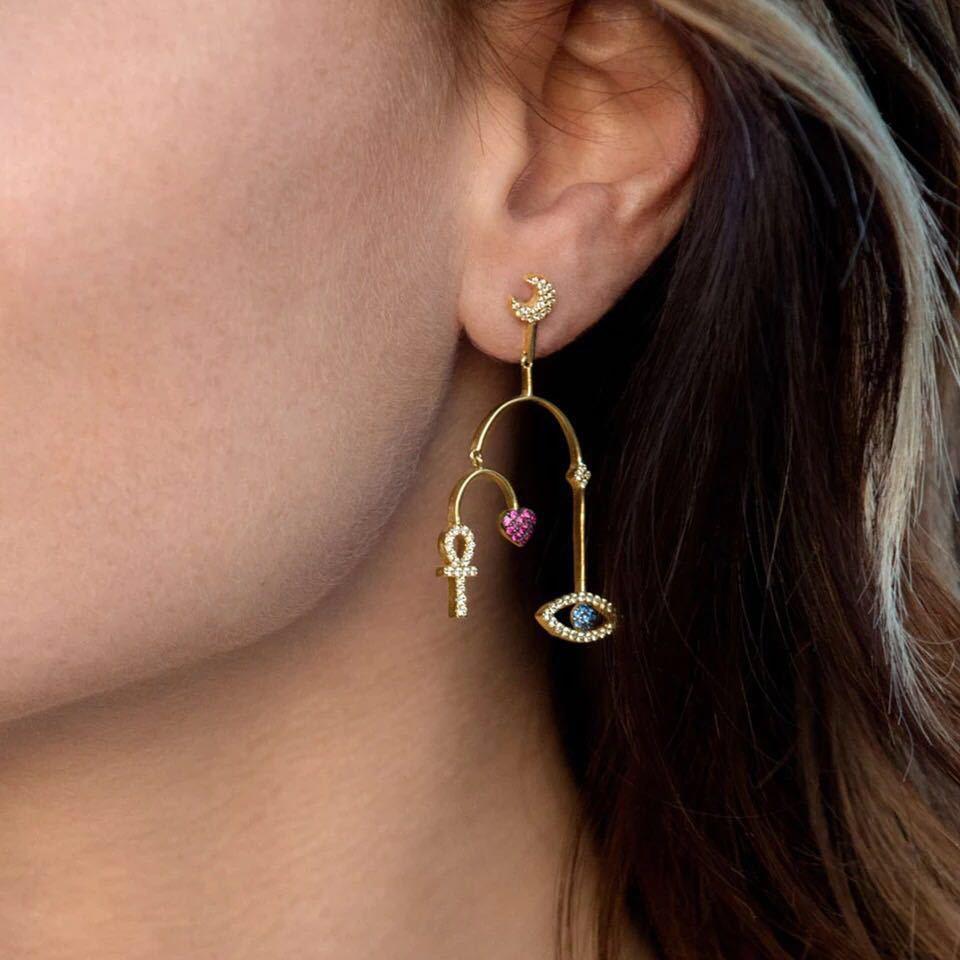 Monaco flambant neuf œil coeur lune charmes asymétrique AB boucle d'oreille célèbre 925 argent sterling gland Zircon femmes boucles d'oreilles bijoux