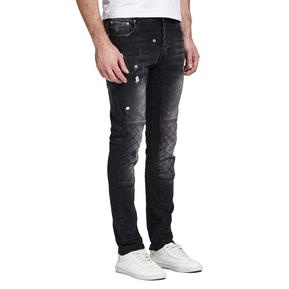 Moda Erkekler Jeans Tasarım Streç Erkekler Için Tahrip Biker Slim Jeans E5021