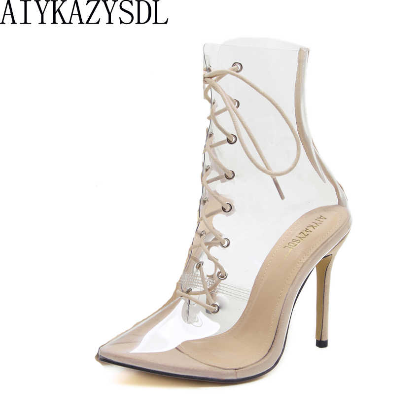 AIYKAZYSDL Women PVC Clear Transparent Boots Pointed Toe Cross Strap  Gladiator Sandals Summer Bootie Stiletto High 4c5ccc106f3b
