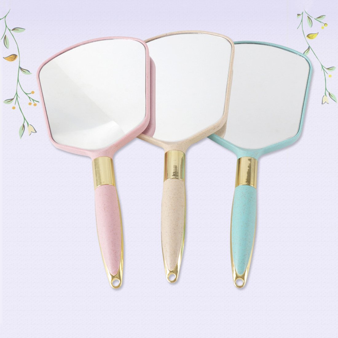 HOT 1PC Cute Pink White Plastic Vintage Hand mirrors Makeup Vanity Mirror Rectangle Hand Hold Cosmetic Mirror With Handle
