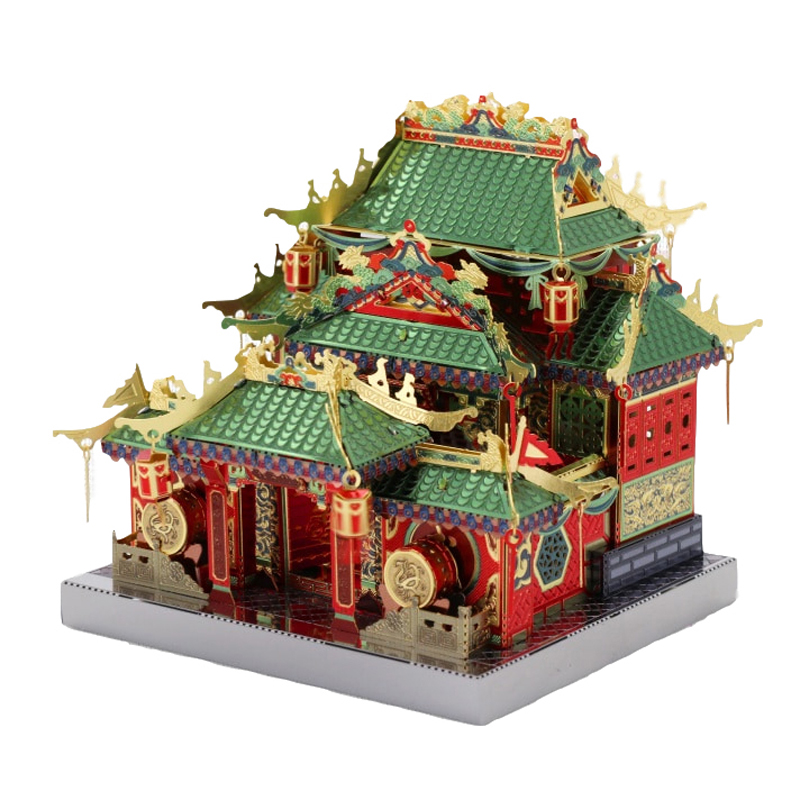 MU 3D Metal Puzzle Chinatown Building Fistoffury LED Light Model DIY 3D Laser Cut Assemble Jigsaw Toys Gift For Children Kids