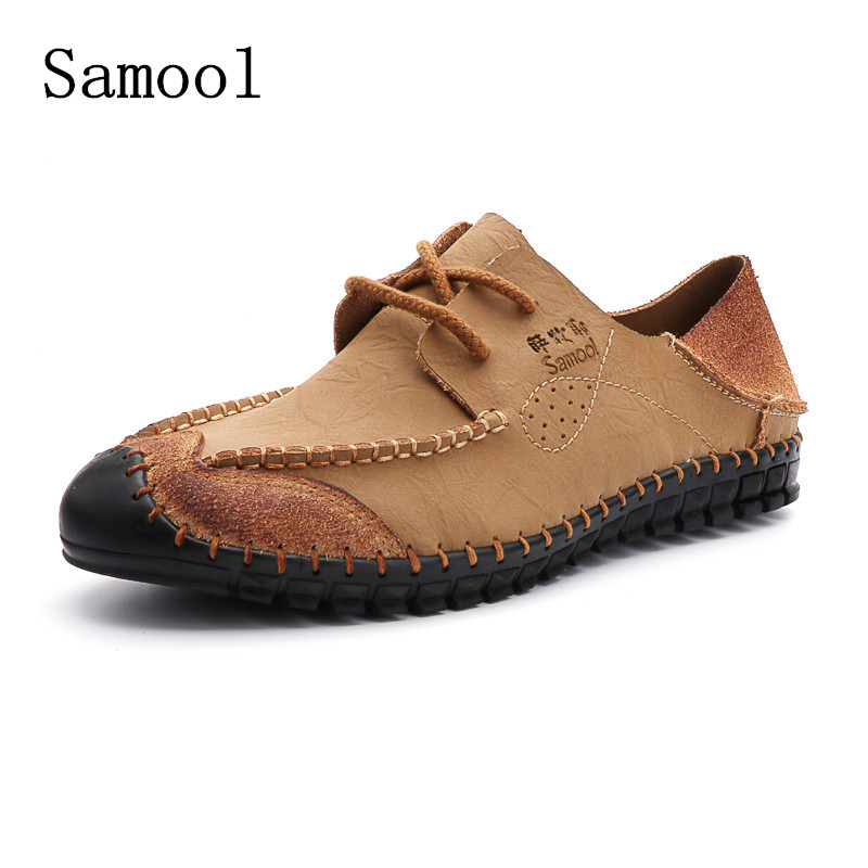Summer Fashion handmade sewing Style High Quality Genuine Leather Comfortable Shoes Men round toe lace up casual shoes flats vmuksan hot sale suede leather shoes men high quality lace up men casual shoes new style comfortable men s spring shoes