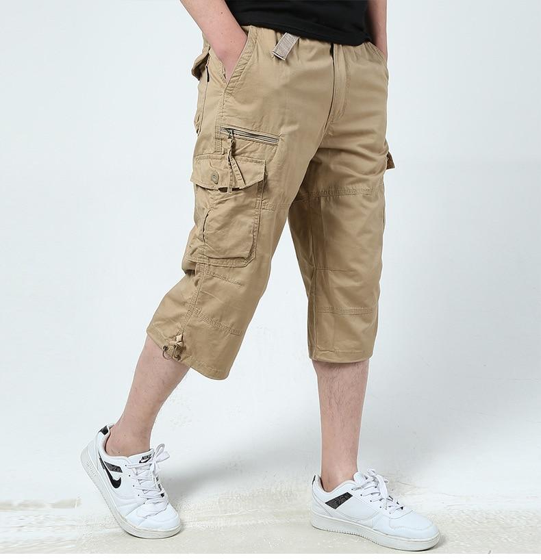 6 Summer Mens Baggy Multi Pocket Military Zipper Cargo Shorts breeches Male Long Army Green Khaki Mens Tactical Short Plus Size
