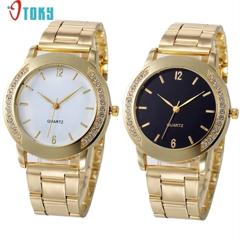 OTOKY Willby Women Fashion Rhinestone Gold Metal Band Analog Wrist Watch Dropshipping Dec16