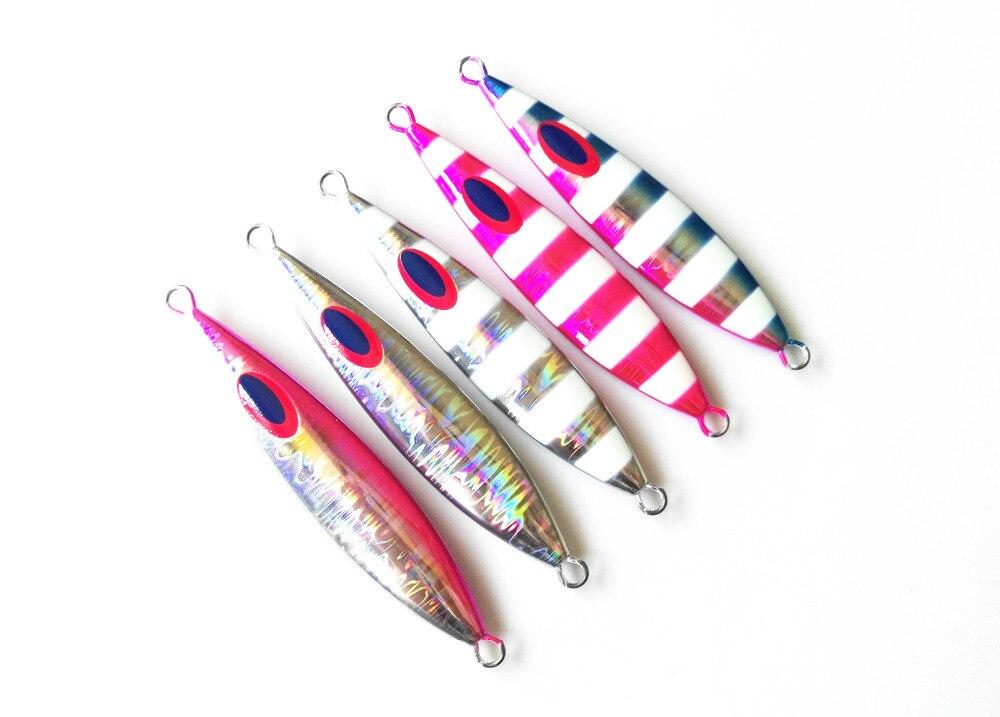 5PCS Deep sea Fishing Glow Stripe Ocean Boat Rock Beach Metal Jigging Jigbait Spoon Lure 60g 80g 100g 150g