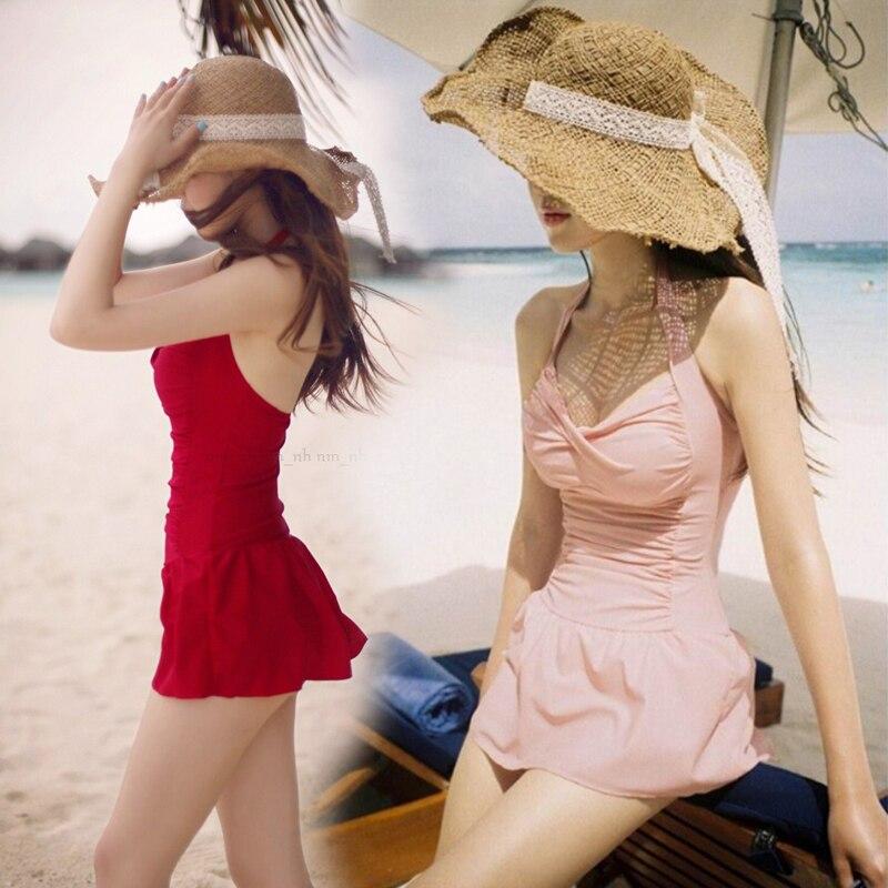 2017 Women Dress Swimsuit Sexy Bandage Swimwear Female One Piece Bathing Suit Halter Swimdress Push Up Skirt Maillot Beach Wear trendy solid color halter pleated one piece skirt swimwear for women
