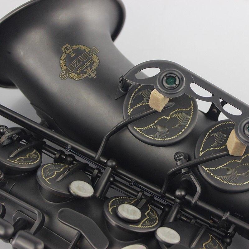 Бесплатная доставка SUZUKI Alto Саксофон E плоский матовый черный Никель покрытием поверхности профессиональные музыкальные инструменты Sax для ...