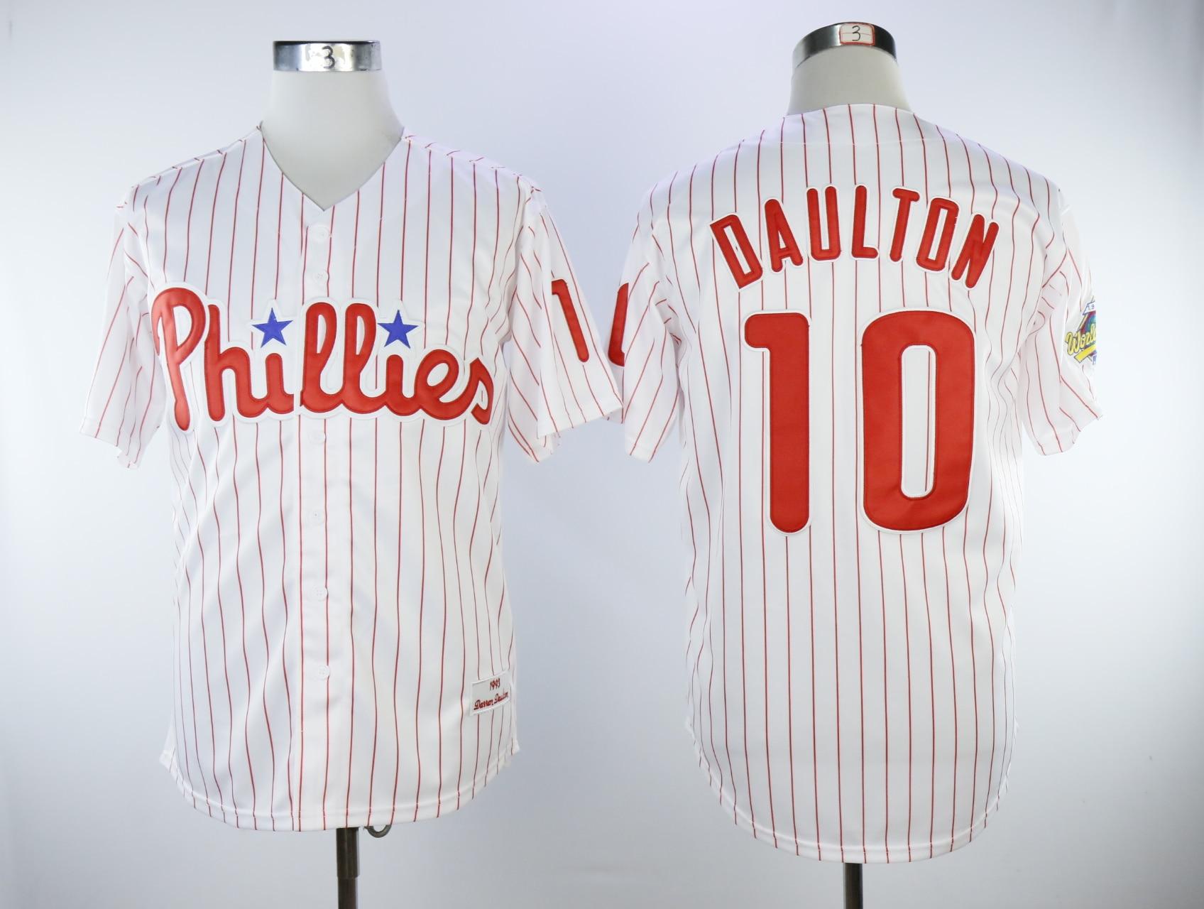 MLB Mens Philadelphia Phillies Darren Daulton Rhys Hoskins Baseball Home Flex Base Authentic Collection Player Jersey