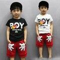 2017 новый детская одежда мальчиков летом Кит Футболка и Полосатые Шорты спортивный костюм марки дети мальчик Ребенок Дети Наряды