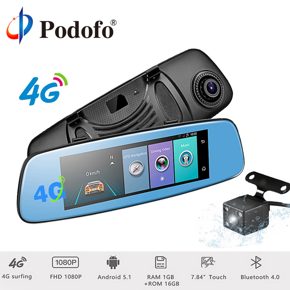 Podofo 4 г 7.84 Сенсорный экран ADAS удаленного Мониторы зеркало заднего вида Видеорегистраторы для автомобилей Камера Android Двойной объектив Wi-Fi ...