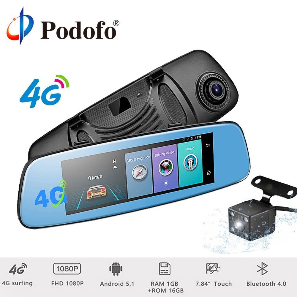 Podofo 4G 7.84 Écran tactile ADAS À Distance Moniteur Rétroviseur De Voiture DVR Caméra Android Double Objectif Wifi Dashcam GPS Navigation