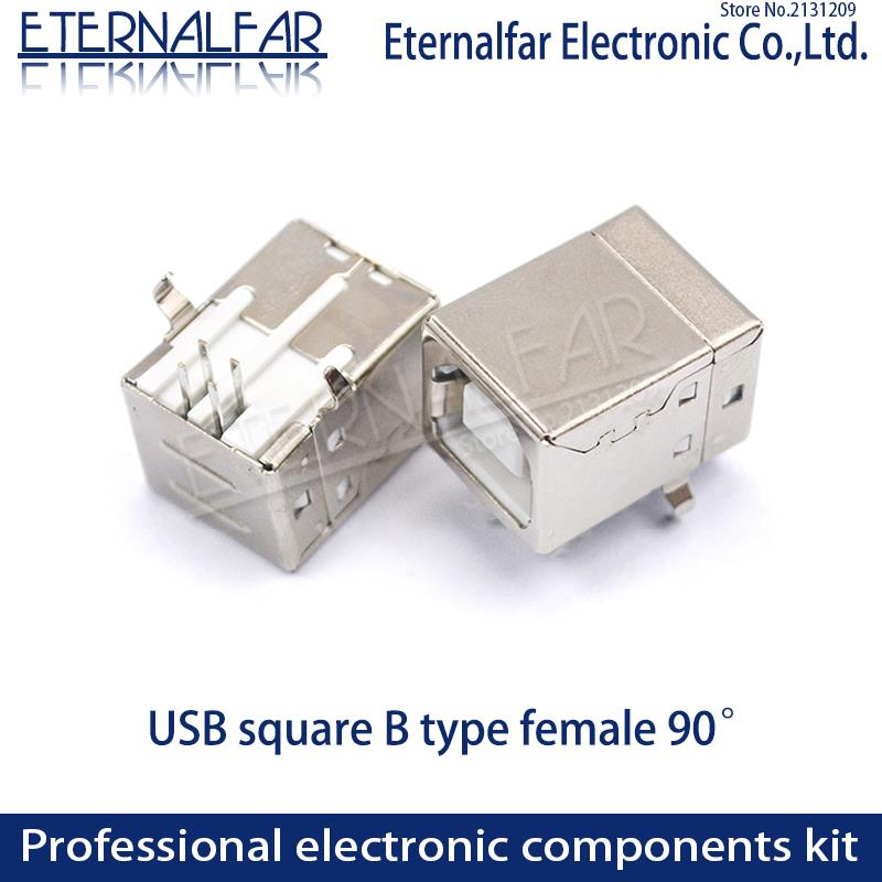 USB 2.0 Square Type B Female 90 Degree D Mouth Bent Foot Printer Interface Connector Socket Straight Needle Welding Wire PCB DIY