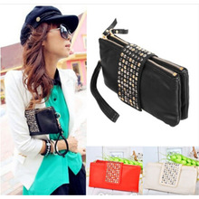 Rivet envelope clutch hot sale women designer leather wallets handbag black evening bags ladies party vintage purse vy