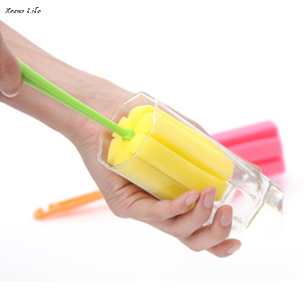 ISHOWTIENDA 1PC 25cm Big Deal 1 PC Kitchen Cleaning Tool Sponge Brush For Wineglass Bottle Coffe Tea Glass Cup Brush Wholesale