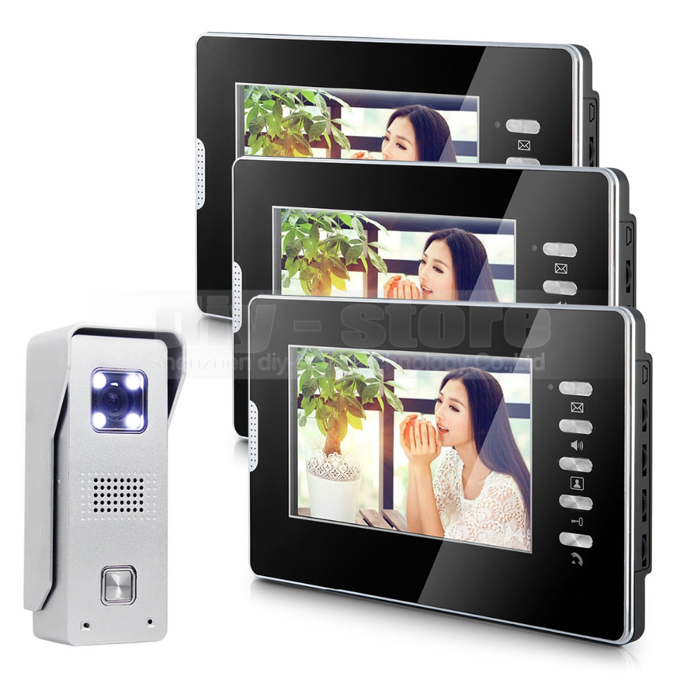 DIYSECUR 7 Video Door Phone Intercom System 1Camera + 3 Monitors for Villa Home Office