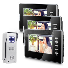 DIYSECUR 7″ Video Door Phone Intercom System 1Camera + 3 Monitors for Villa Home Office
