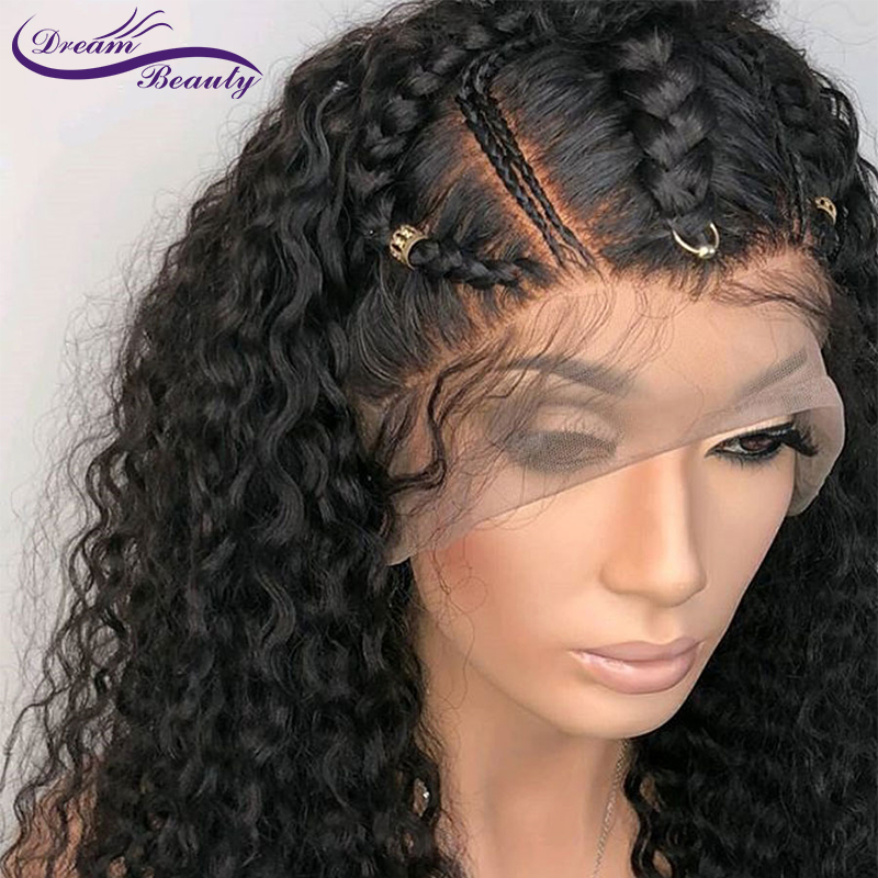 Lace Front Human Hair Wigs For Women Natural Black Pre Plucked 130% Density Brazilian Curly Remy Human Hair Wig Dream Beauty